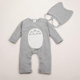 Trajes de totoro online-Juego de mamelucos para bebés 100% algodón Vetement suave Trajes de recién nacidos Elastic Hat + Baby Cartoon Costume 2 piezas Totoro Juego de mamelucos infantiles