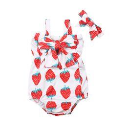 74813cce5 Pudcoco Newborn Baby Girls 0-24M Romper Ruffle Strawberry Print Romper  Sleeveless Jumpsuit Headband 2PCS Outfits Sunsuit