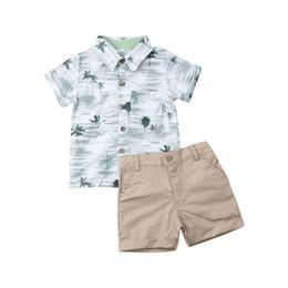 bicchierini khaki del bambino Sconti Coconut T-shirt stampate Khaki Shorts bambino dei vestiti del ragazzo Set 2 pezzi casual Neonato bambini neonati estate Pantaloncini Abiti Set