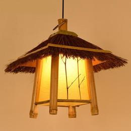Luz pendant japonês on-line-Estilo pastoral pingente luzes lâmpada de bambu e27 Chinês / estilo Japonês lanterna retro lâmpada pendurada para bar sala de chá, restaurante