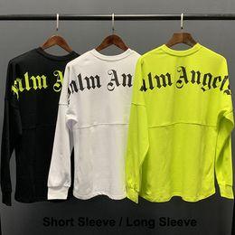Футболка Palm Angels Белая черная футболка с принтом букв Мужчины Женщины Футболка большого размера Хип-хоп Уличная одежда Топы Футболки Palm Angels LXG1203 от Поставщики делать палочки