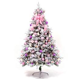 Rosa decorado arbol de navidad online-2018 nueva set árbol de la nieve 1,5 / 1,8 / 2,1 metros del árbol de Navidad acuden decorado con accesorios de la lámpara de la correa