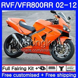 2019 carenagens para honda interceptor Kit para HONDA Interceptor VFR800RR 02 08 09 10 11 12 258HM.48 VFR 800RR 800R VFR800 RR Laranja Gloss 2002 2008 2009 2010 2011 2012 Carenagem carenagens para honda interceptor barato