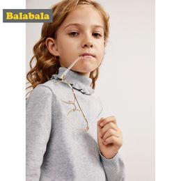 puño del hombro Rebajas Balabala Girls Fine Knit Ruffled Cuello alto Jersey Jersey Suéter con hombros caídos con puños y dobladillo acanalados para adolescente