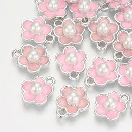 Perline di metallo fiamma online-20pcs 14x11.5x6mm lega di metallo smaltato ciondoli gioielli fascino, con ABS imitazione perle, fiori, rosa, foro: 2mm