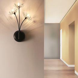 2019 lampara led flor pared Dandelion 3Heads Flower Lámpara de pared Dormitorio Decoración Lámparas NordicModern Simple Wandlamp Luminaria LED Corridor Wall Lights rebajas lampara led flor pared