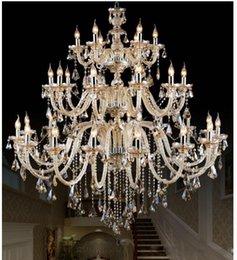 2019 grandi cristalli a bracci Morden 3 strati 28 lampadari di cristallo del cognac di grandi braccia scala lunga lampadario di cristallo che accende le lampade della sala dell'hotel del ristorante dell'hotel sconti grandi cristalli a bracci