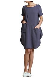 Vestiti di lino sciolti online-Anisize Spring Summer Soft Linen Lantern Lantern Abito ampio Taglie forti Abbigliamento Y18