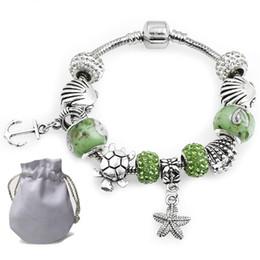 1ad36a6f Precio bajo Charms Pulseras Fit Pandora Mujeres Brazalete Lampwork Cristal  de Murano Perlas de Estrella de Mar Ancla Colgante Verde Joyas de Piedras  ...
