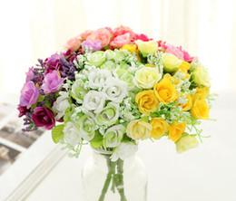 2019 piccola rosa artificiale di seta Mini Artificiale Rose Bouquet 21 teste Mini Rose fiori di seta fiore artificiale Home Decor per matrimoni bouquet di piccole rose sconti piccola rosa artificiale di seta
