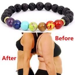 Gesegnete armbänder online-Buddha Segnen Gewicht Verlieren Chakra Armband Schwarz Lava Healing Balance Perlen Reiki Buddha Gebet Naturstein Armband Frauen A241