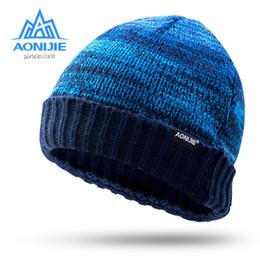 lana di cappello flanging Sconti Marca AONIJIE uomini donne cappello lavorato a maglia outdoor sport da corsa caldo flanging berretto di lana caldo inverno sport tempo libero cap