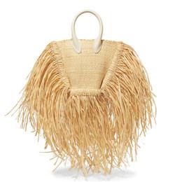Tessuti beach totes online-Designer-2019 Fashion New nappa borsa di alta qualità Paglia borsa donna spiaggia tessuta borsa Tote spiaggia frange tessuto spalla viaggio