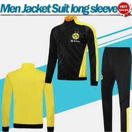 vestuário de homem amarelo Desconto 2020 Dortmund jaqueta Terno Dos Homens de Futebol Kit 19/20 de manga longa preto amarelo treino Homens Dortmund Futebol ternos de suor Jaqueta + Calça
