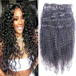 Afro Kinky Kıvırcık İnsan Saç Uzantıları Klip 100% İşlenmemiş bakire Moğol Remy Saç kıvırcık klipler ins saç uzantıları 18