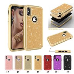 Capa de telefone 3in1 on-line-Defensor híbrido 3em1 brilho macio tpu silicone rígido pc phone case para iphone xs max xr xs xs 8 mais 7 6 s samsung galaxy s9 mais s9 nota 9