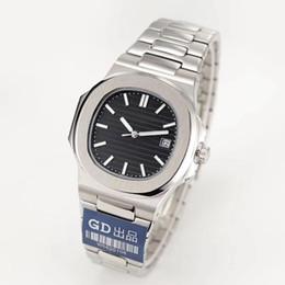 relojes de lujo hombres pp Rebajas Reloj para hombre de lujo Nautiluss Movimiento Grabado PP Azul Dial Movimiento automático Acero inoxidable Transparente Atrás Hombres Relojes de pulsera