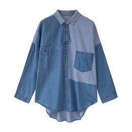 2020 blusas jeans mujer Las mujeres de la nueva llegada de moda del resorte Danim de manga larga camisas ocasionales flojos remiendo rayado de Blusas Jeans Mujer largo Tops blusas jeans mujer baratos
