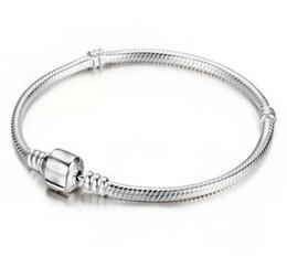2019 fascini da ginnastica All'ingrosso della fabbrica 925 bracciali in argento sterling 3mm catena del serpente Fit Pandora Charm Bead Bangle braccialetto gioielli regalo per le donne degli uomini