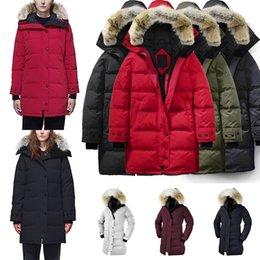 Verde parka delle donne online-Inverno Donne Giù parka Hoody Canada SHELBURNE pelliccia di lupo Donna Giacche Cerniere Designer esercito nero giacca verde cappotto caldo Outdoor Parka