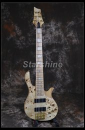 Oro di frassino online-Starshine 6 Strings Basso elettrico YL-BS10 Burl Top ASH Body Maple Fingerboard Gold Hardware