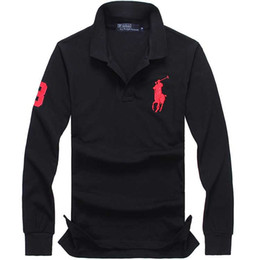 long sleeve polo style shirts Promo Codes - 2019 designer polo shirts men lapel long-sleeved cotton hommes big horse American style print letter