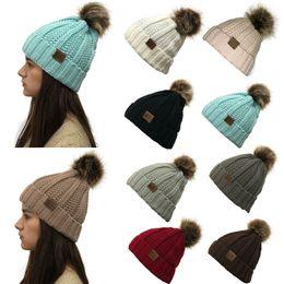 Niñas tejidas sombreros de invierno online-2019 CC Knit Beanies hat Pom pom Big Girl mujer moda caliente sombreros de punto 9colors invierno Crochet exterior café negro gris beige