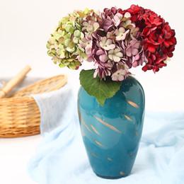 2020 gefälschte blumen vasen Künstliche Blumen Silk Hydrangea Braut Blumenstrauß nach Hause Wedding Vase Dekoration DIY Fertigkeit Kranz Scrapbooking Fake Flowers rabatt gefälschte blumen vasen
