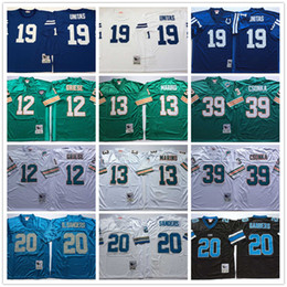 Camisas bordadas do futebol on-line-Vintage costurados camisas Bob Griese Dan Marino Larry Csonka Barry Sanders Johnny Unitas Bordado Futebol Jerseys