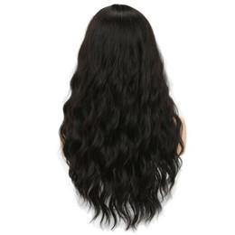 Perruques afro-américaines ondulées en Ligne-Longues perruques de femmes noires avec des perruques ondulées synthétiques résistantes à la chaleur de frange pour les femmes noires afro-américaines + filet de perruque