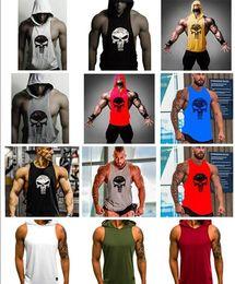 Chaleco cráneo hombres online-19 colores para hombre camisetas de diseño Cráneo Culturismo Fitness Stringer Hombres Tank Top Golds Gorilla Wear Chaleco Undershirt Tank Tops zhzy005