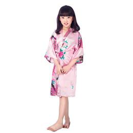 Robes de kimono en soie enfants en Ligne-Rose New Kid Soie floral Robe Kimono Robes Demoiselle D'honneur Fleur Fille Dress Enfants Peignoir Vêtements De Nuit Bébé Vêtements Dressing Dress