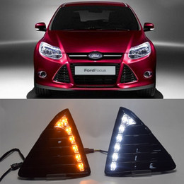 Foco diurno de luces led online-ECAHAYAKU para Ford Focus MK3 3 2012 2013 2014 DRL LED de luz diurna 12V LED luz antiniebla con oscurecimiento estilo Relay