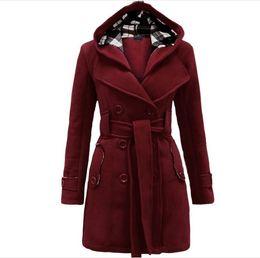 2019 cucitura di maglione di lana Felpa con cappuccio inverno cappotto donne doppiopetto giacca cardigan cucitura lungo di lana cappotti con cintura Abbigliamento Vestidos sconti cucitura di maglione di lana