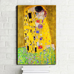 famous figures Coupons - Famous Figure Painting, Gustav Klimt Kiss Canvas Paintings Print on Canvas, Wall Art Picture For Living Room Home Decoration