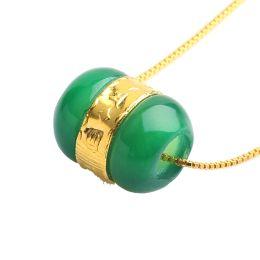Colgantes de oro macizo 24k cadenas online-Koraba Joyería Fina Sólido 24 K Oro Amarillo Natural Jade Lucky Bead Colgante Cadena de Plata Gratis Envío Gratis