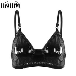 vintage bra straps Promo Codes - iiniim Womens Adjustable Spaghetti Straps Open Hole Bra Lingerie Clubwear Faux Leather Vintage Style with Nipple Splits Bra Top