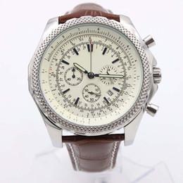 grande relógio de mens marrom Desconto BR 1884 Chronomat Mens Watch Quartz Movimento A25362 Chronograph Mens Relógios Com Branco Big Dial Brown Leather Strap Edição Especial