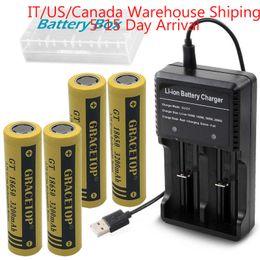 Lampes de poche en Ligne-4PCS Flat Top 18650 Batterie 3200mAh 3.7V et chargeur de batterie 18650 batteries Li-ion Batterie pour poche lampe de poche phare