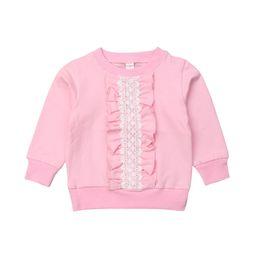 Argentina 2-8Y Otoño Niño lindo Bebé Niñas Sudadera Tops Encaje Ruffles Imprimir Rosa de manga larga Tops Tops Ropa cheap ruffled sleeve sweatshirt Suministro