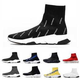 billige marken-basketballschuhe Rabatt Günstige BalenciagaSockeschuhe Designer Casual Socken Schuhe Luxus Speed Trainer Schwarz Rot Triple Brand Socken Sneaker Trainer Turnschuhe