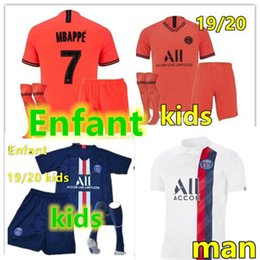 camiseta de fútbol kit nuevo Rebajas Jordan Paris Nike New 2019 2020 psg kids kit socks soccer jersey maillot psg kids football kits 19 20 Maillot de foot psg Enfant shirt MBAPPE jersey