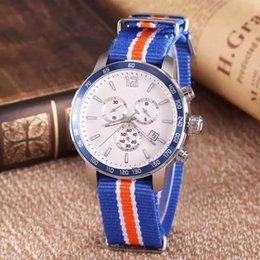 sangle nato bleue Promotion Quickster T095 Top Rond Tachymètre Rond Chronographe Quartz Japon Bleu Bracelet En Tissu Nato Homme En Nylon Montre Montres Hommes Montres