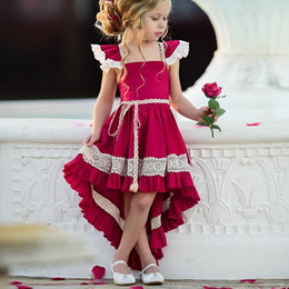 Vestido de cola de milano de las muchachas online-Verano Red Baby Girls Dresses 3t Niños ropa de diseñador Longitud del tobillo Dovetail Vestido asimétrico Vestidos largos de fiesta Vestidos de fiesta de noche