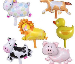 Balões da festa da princesa on-line-50pcs aleatório Mini Urso Macaco Buttfly Pig Sheep Princesa Animais Foil Balloons Birthday Party inflado Air Ballon Suprimentos Toy Crianças
