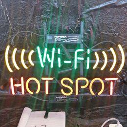 wifi llevó señal Rebajas WIFI HOT SPOT Neón muestran Luz al aire libre de encargo marco de la barra de entretenimiento Decoración de cristal de neón del LED metal lámpara de luz 17 '' 20 '' 24 '' 30 ''
