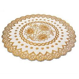 bicchieri caldi di whisky Sconti All'ingrosso tovagliette impermeabili Coaster tavolo resistente al calore stile europeo timbratura di oro del PVC stuoie 4 PCS (rotondo)