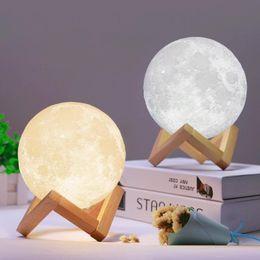 LED 3D Magical Night Moon Light lampe Moonlight USB rechargeable 3D lumière Couleurs Stepless pour la maison Décoration lumières de Noël ? partir de fabricateur