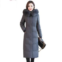лисий мех с капюшоном парка Скидка 2019 Winter Women Real  Fur Collar Hooded Jacket Female White Duck Down Coat Ladies Slim Long Thick Warm Parkas Outwear A20