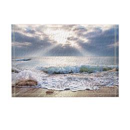 Naturboden online-Natur-Landschaft-Dekor-Ozean-Strand-Wellen gegen Sonnenlicht-Bad-Teppiche rutschfeste Fußmatte-Boden-Eingänge-Eingangs-Tür-Matte